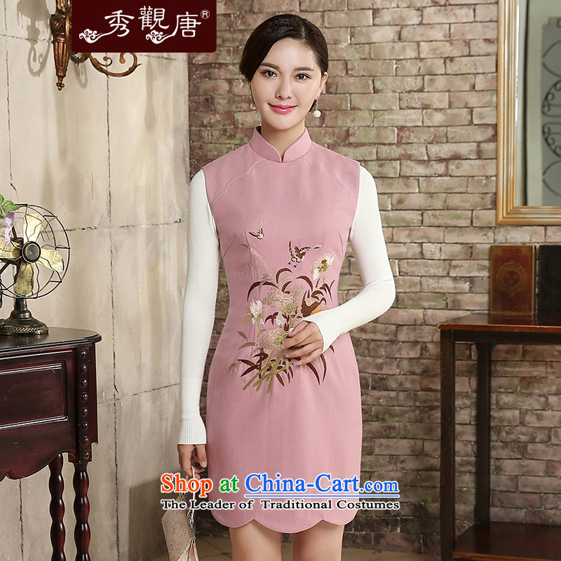 [Sau Kwun Tong] The Butterfly Dance 2015 Autumn replacing new irrepressible embroidery sleeveless qipao 2 Color Ms. optional QW5810 pink�M