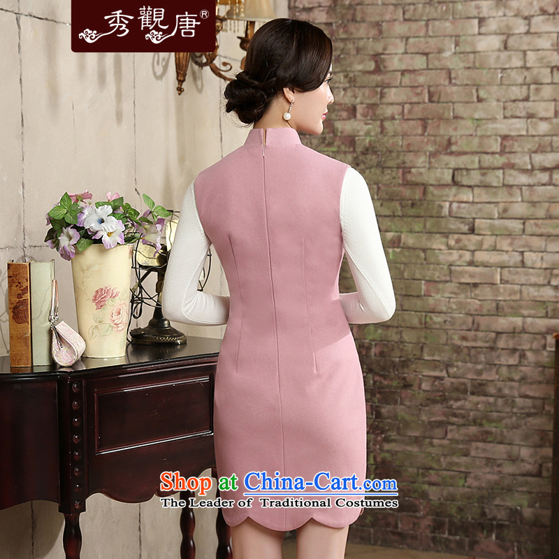 [Sau Kwun Tong] The Butterfly Dance 2015 Autumn replacing new irrepressible embroidery sleeveless qipao 2 Color Ms. optional QW5810 pink聽M, Sau Kwun Tong shopping on the Internet has been pressed.