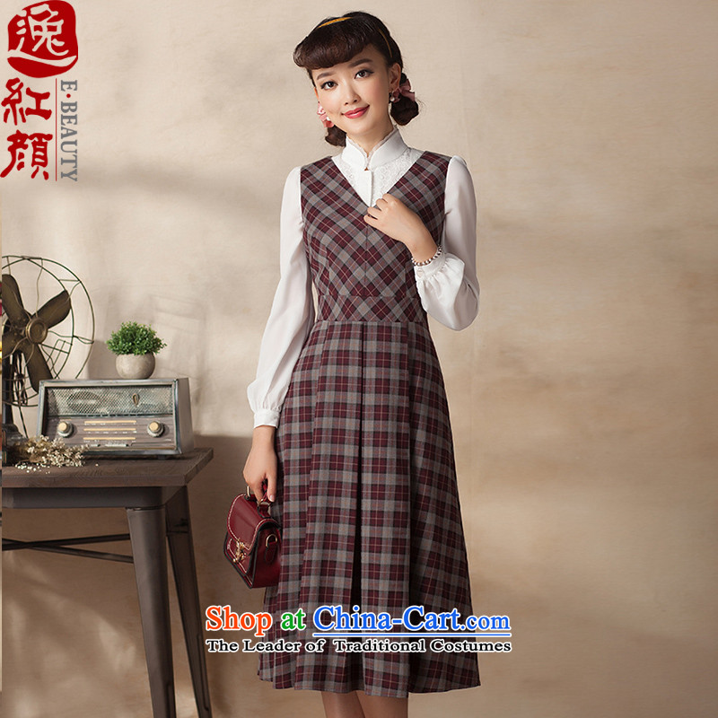A Pinwheel Without Wind, Bujumbura in Yat long sleeveless cheongsam dress 2015 new literary style sub autumn replacing the skirt of carmine color燲L