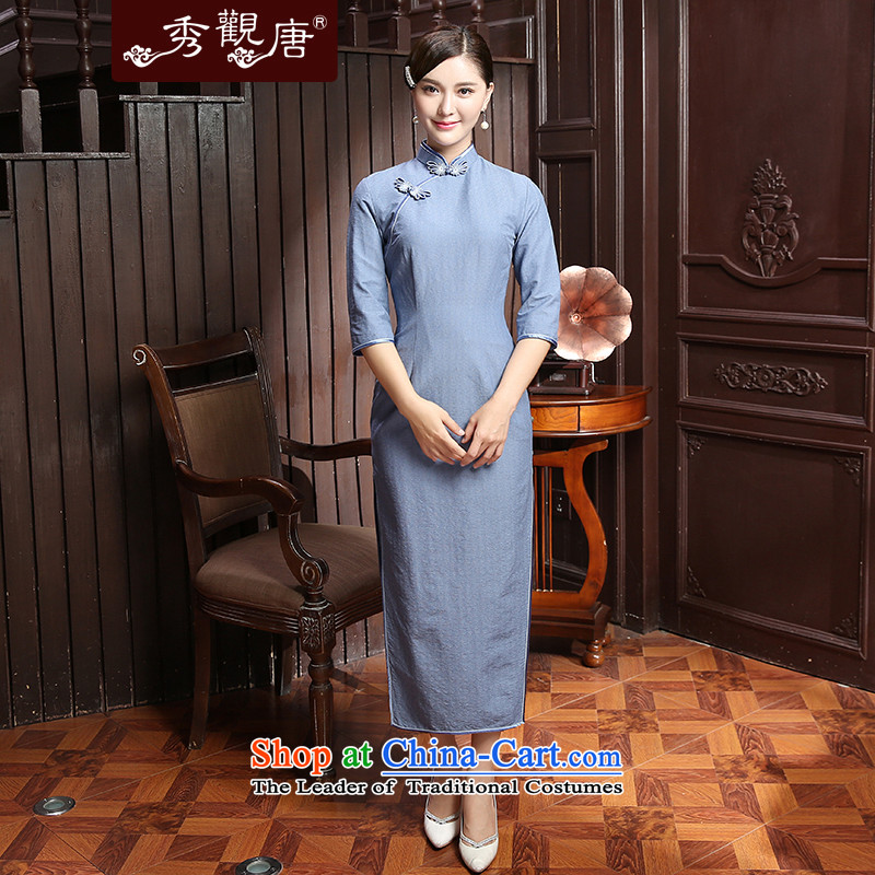 -Sau Kwun Tong- It is autumn 2015 installed new lighter fashion, long-sleeved qipao and two-tone optional QZ5802 BLUE燲L