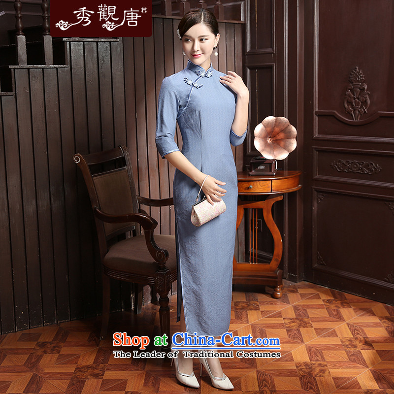 [Sau Kwun Tong] It is autumn 2015 installed new lighter fashion, long-sleeved qipao and two-tone optional QZ5802 BLUE聽XL, Sau Kwun Tong shopping on the Internet has been pressed.