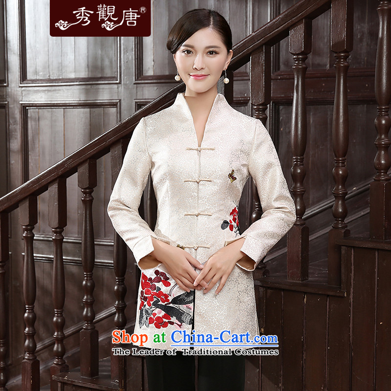 -Sau Kwun Tong- autumn 2015 fall for the new wing of the Tang blouses fine embroidered jacket TC5807 female improved temperament m White聽XXL