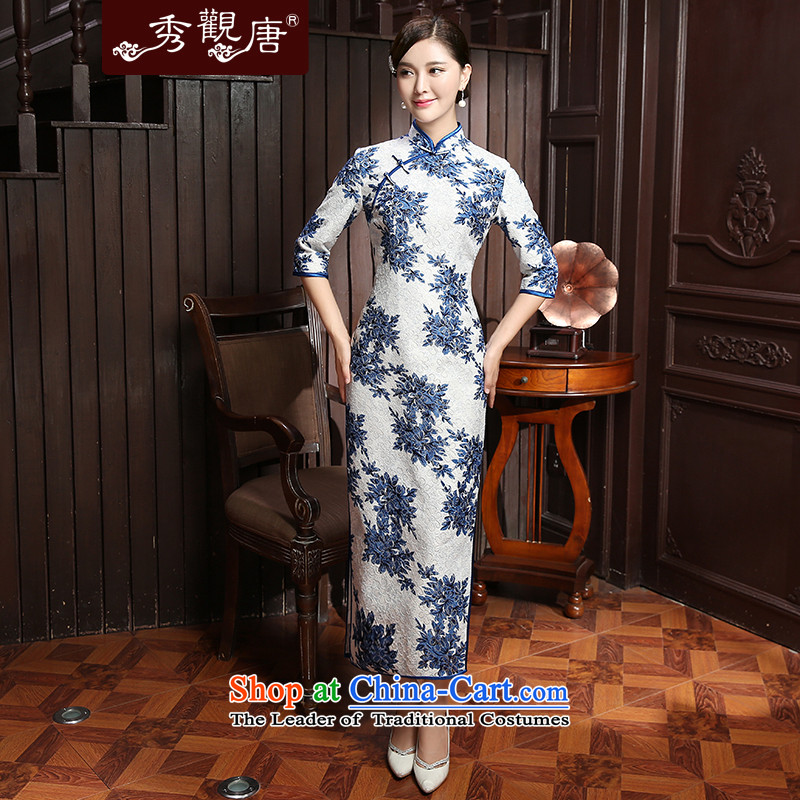 [Sau Kwun Tong] 2015 Autumn Chiu, Chi new stamp and stylish and elegant, warm in long-sleeved blue and white�3XL QZ5801 Cheongsam