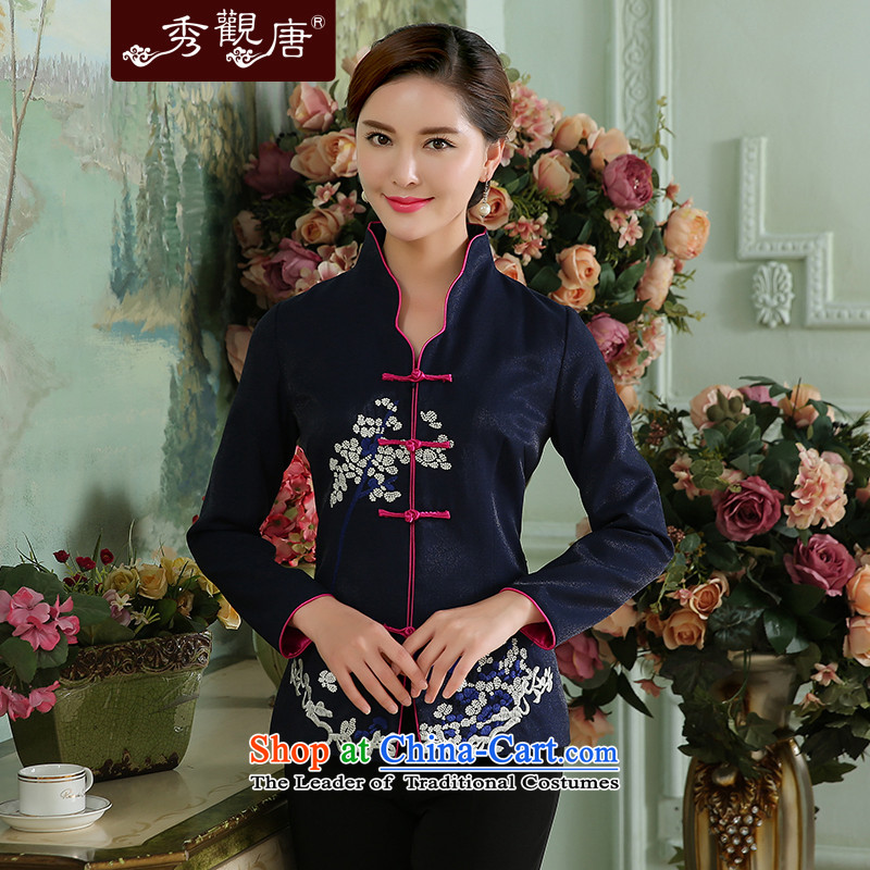 [Sau Kwun Tong] 2015 Autumn Maehyang-load the new color embroidery of nostalgia for the improvement of the Collision short of long-sleeved T-shirt deep blue qipao Tang dynasty�L