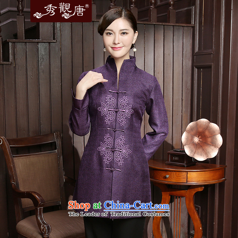 -Sau Kwun Tong- zi yi 2015 Autumn replacing new Tang blouses temperament Chinese improved female jackets TC5806 PURPLE燲L