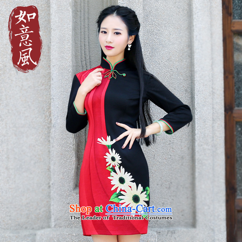 After a day of wind cheongsam dress autumn 2015 New Stylish retro fitted daily improved long-sleeved Sau San cheongsam dress 6086 6086 Female Red燤