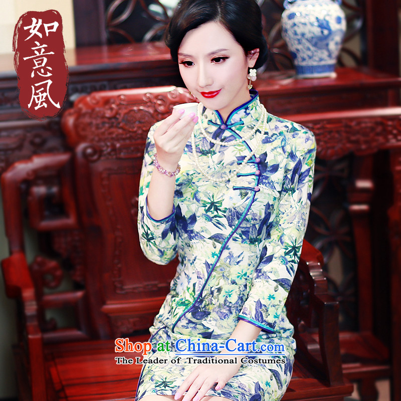 After the爁all of 2015, the Wind new women's clothes long-sleeved improved daily Sau San cheongsam dress suit 5451 5451燬