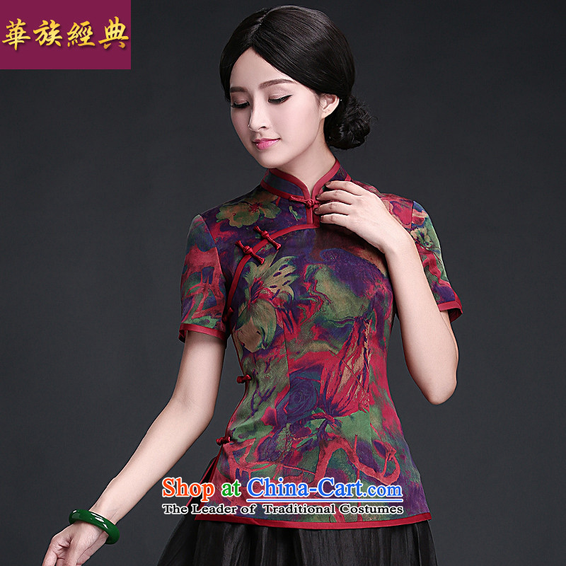 China Ethnic Women classic new ethnic retro summer Tang dynasty silk yarn tray clip cloud of incense Han-qipao shirt suit?L