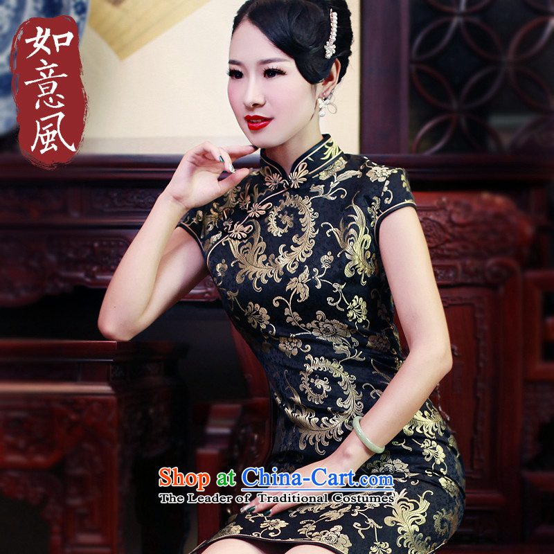 After a day of wind new Fall Classic 2015 improved leisure short qipao Stylish retro dresses dress 5630 5630 suit L