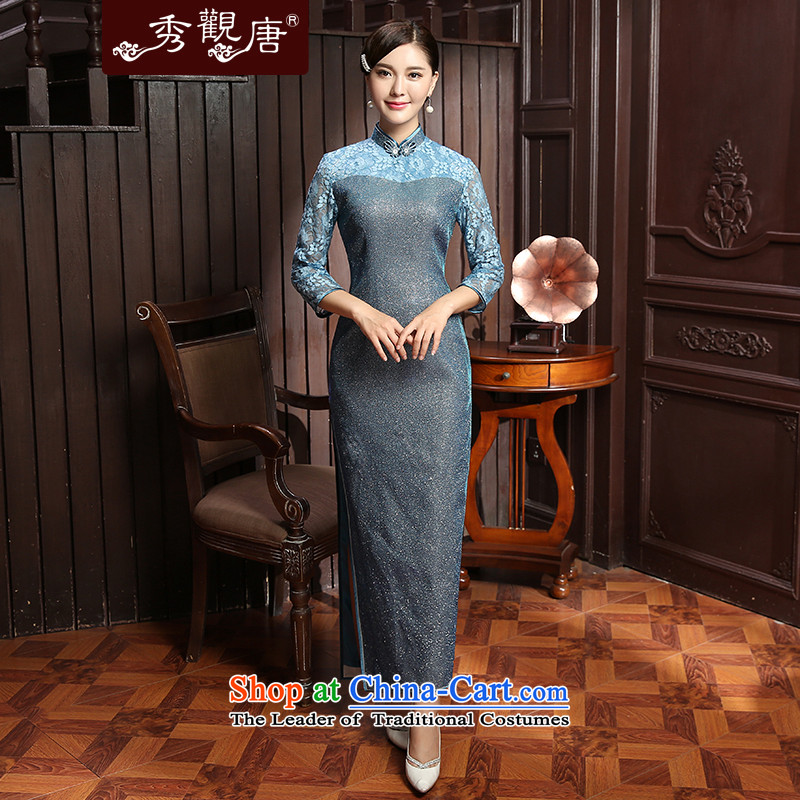 [Sau Kwun Tong] 2015 Autumn load new crystal, lace stitching minimalist pure color long qipao QZ5803 SUIT�XL