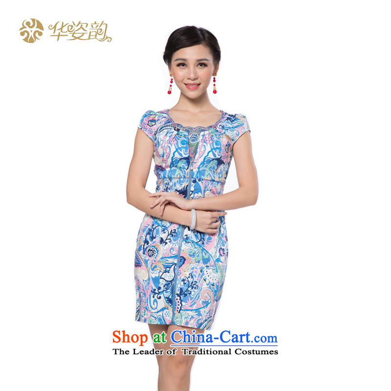 The 2015 Autumn Chinese beauty girl who decorated new retro graphics thin temperament Korean Foutune of engraving lace stamp cheongsam dress Han-Sau San video thin China wind light purple�XXL