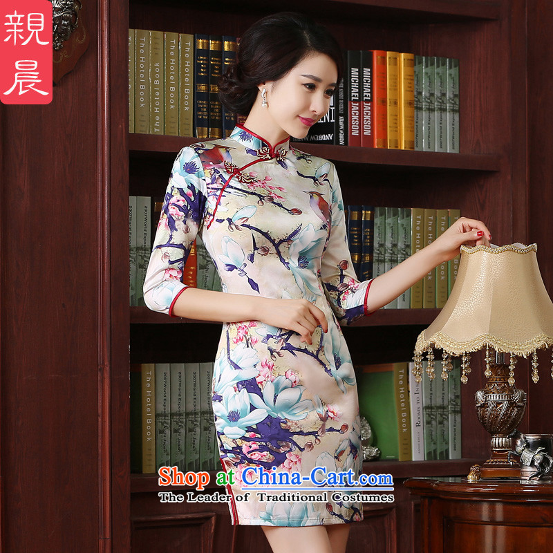 The pro-am new improved cheongsam dress short, 2015 summer day-to-day, Chinese Antique larger in short-sleeved) 2XL