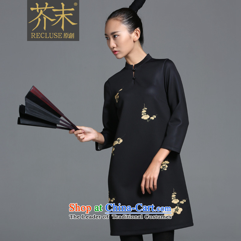 �� mustard original health flowers/New Chinese small collar dress girls improved qipao designer brands autumn new stamp spot?L