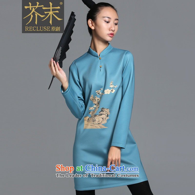 【 mustard original health Quiet Nights_China wind original Yuk-clip small collar stamp design improvements cheongsam dress female autumn new lake blue spot XL