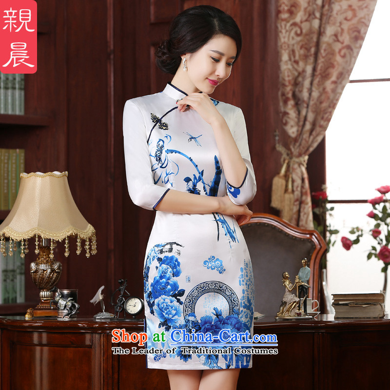 The pro-am new cheongsam dress short of 2015 summer daily fashion Chinese Antique Ms. improved in short-sleeved)�L