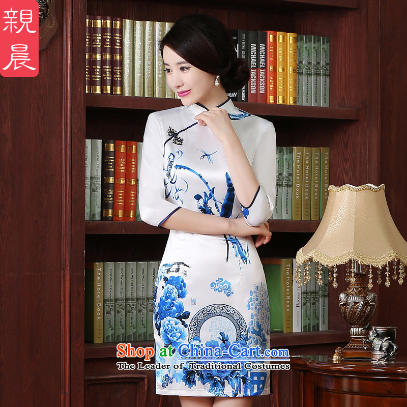 The pro-am new cheongsam short of 2015 summer daily improved Stylish retro Ms. Chinese cheongsam dress short,?XL