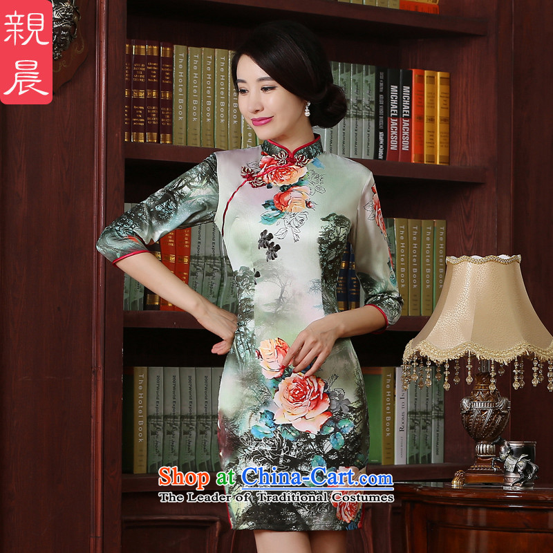 The pro-am new improved cheongsam dress short, 2015 summer daily Chinese qipao Ms. retro Sau San short skirt_聽3XL