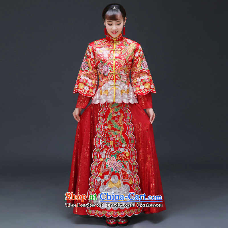 The Royal Advisory Groups to show friendly new bride bows serving Chinese retro-hi-Dragon Chinese qipao use wedding dresses handicraft embroidery Bong-Koon-hsia previous Popes are placed a set of clothes and ornaments recommended +燣 of brassieres 92