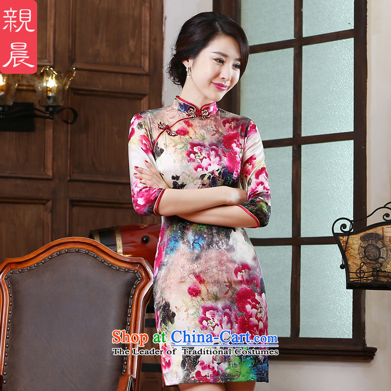 The pro-am New Silk Cheongsam Dress Short of 2015 summer day-to-female retro herbs extract improved cheongsam dress short,�L