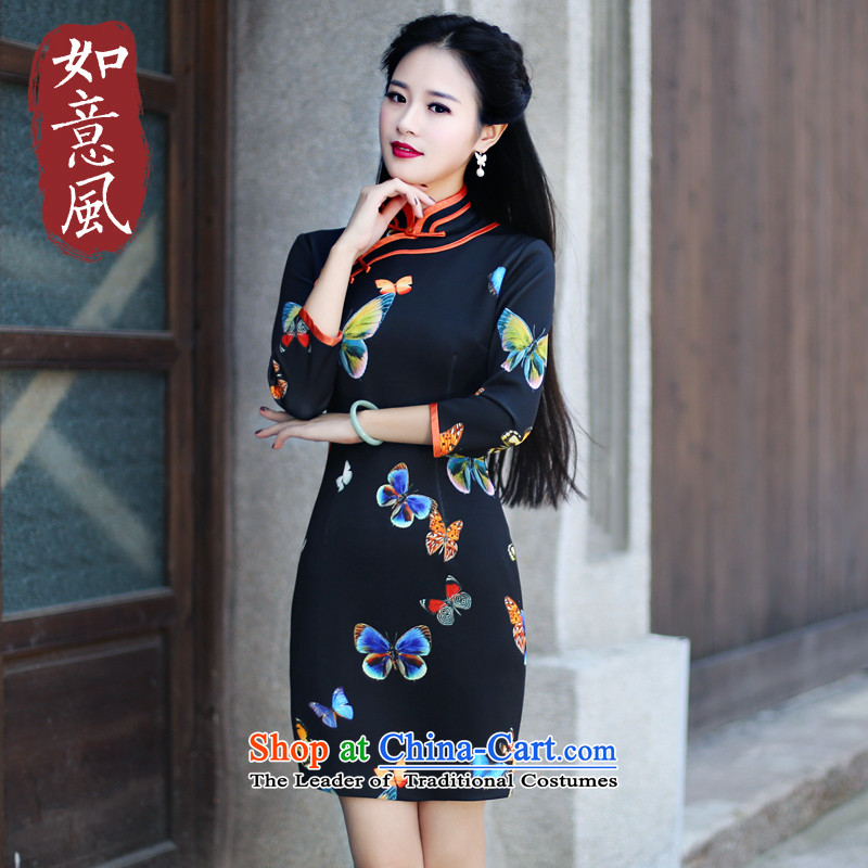 After a new 2015 autumn wind load cheongsam dress fashion, cuff air layer qipao daily retro dresses 607 1 607 1 suit?XXL
