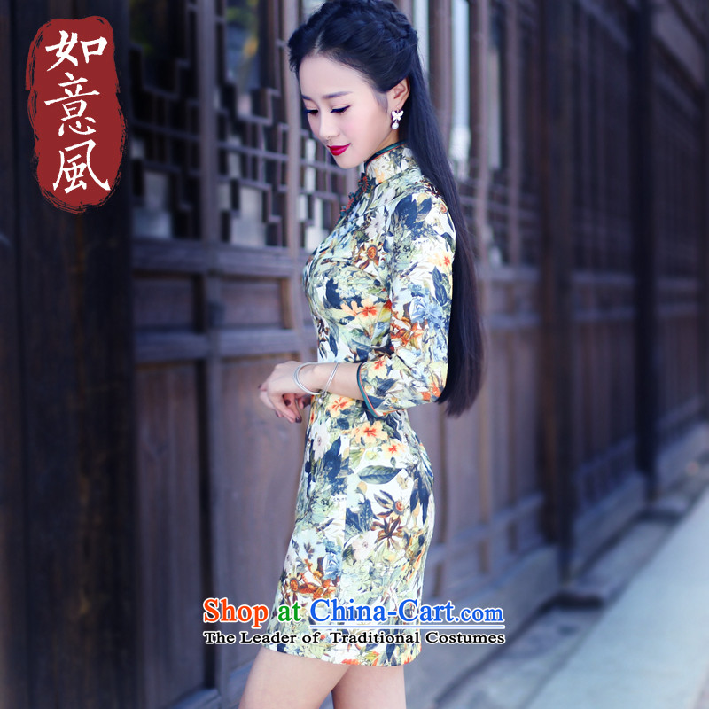 After a day of Wind燙hina wind in 2015 Stamp cuff cheongsam dress Stylish retro fitted female qipao spring and autumn 6020 6020 Suit燤