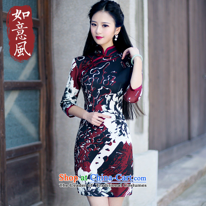 After a new wind 2015 Fall_Winter Collections in the retro look stylish improved improvements cuff short skirt 6074 6074_ qipao suit?S