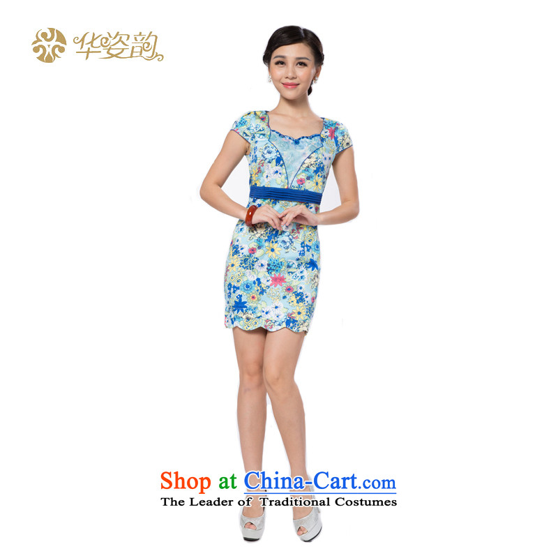 The following summer Gigi Lai Hua, stylish girl Sau San retro graphics thin temperament Korean Stamp cheongsam dress Foutune of short-sleeved improved elegant woman dress lace blue燲L