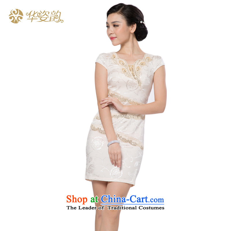 The following summer Gigi Lai Hua stylish improved temperament, Sau San video thin short retro-day Ms. dresses cheongsam dress summer elegant woman dress�815033- White�XXL