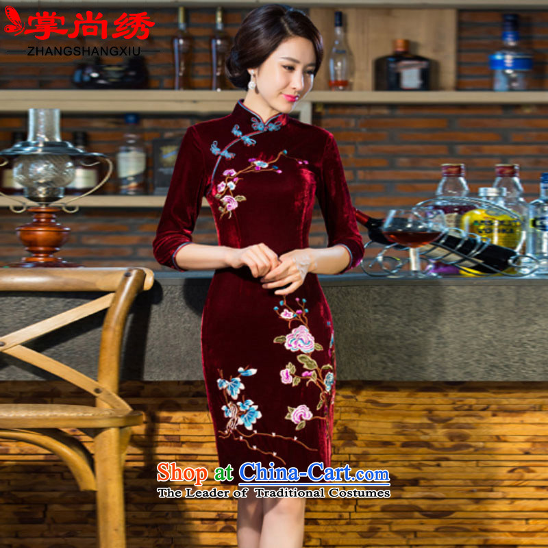 Your handheld is embroidered 2015 autumn and winter decorated in gold velour retro wedding in embroidery cuff improved cheongsam dress 7838 female wine red燤
