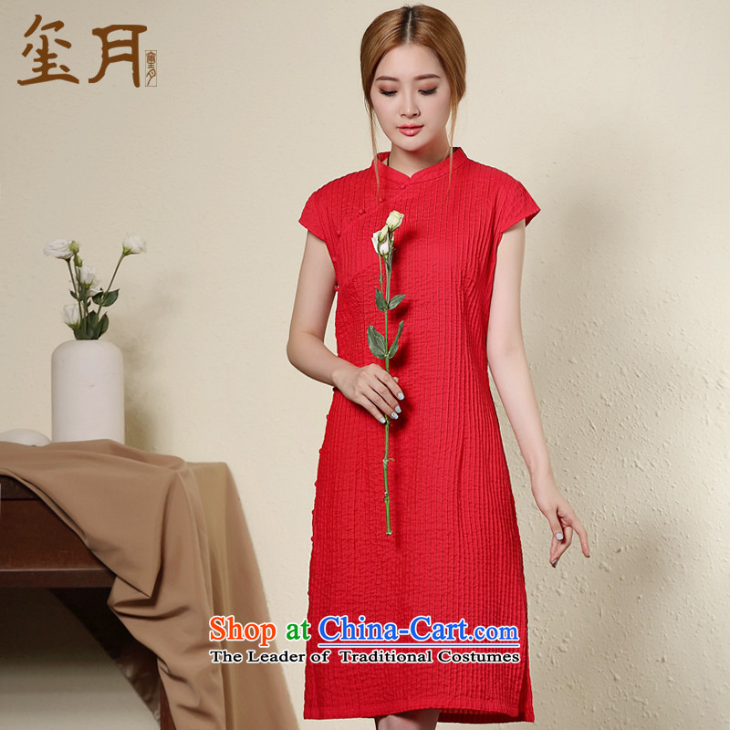 On day-to-Sau San video seal thin cotton cheongsam dress autumn, literature and art china wind women cheongsam dress short, Red�L