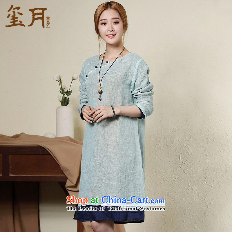 The seal on the original cotton linen with large relaxd autumn female cheongsam dress retro 7 Cuff China wind long skirt light blue燬