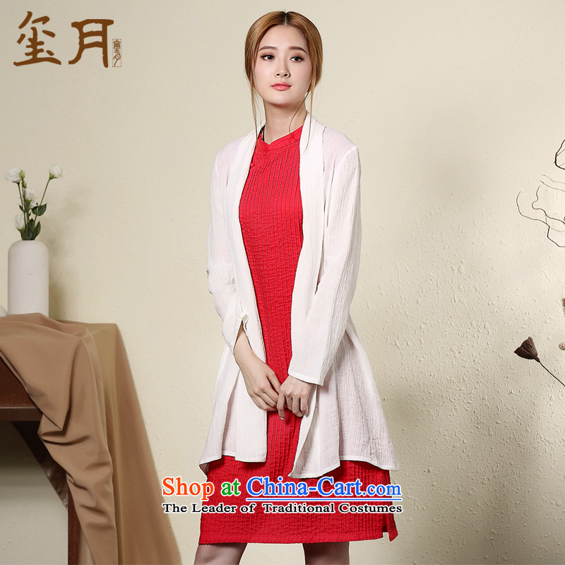 The seal on the original elegant arts cotton linen cheongsam dress autumn loose 7-day short-sleeved blouses cheongsam dress RED燤