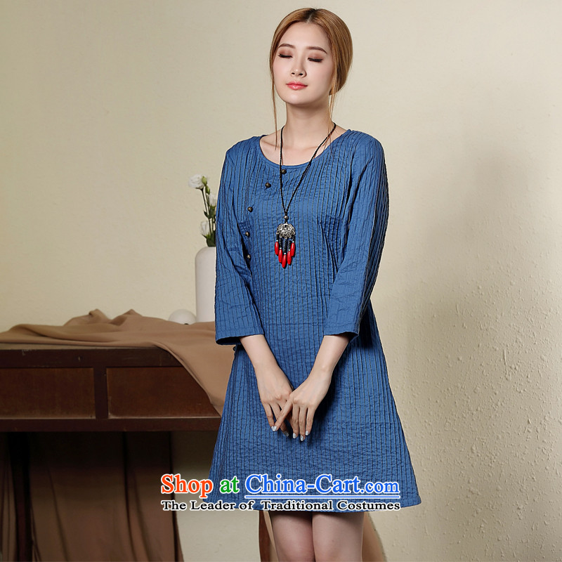 On Literature and Art Deco beauty seal linen cheongsam dress�autumn 2015 New China wind daily short cheongsam Blue�M