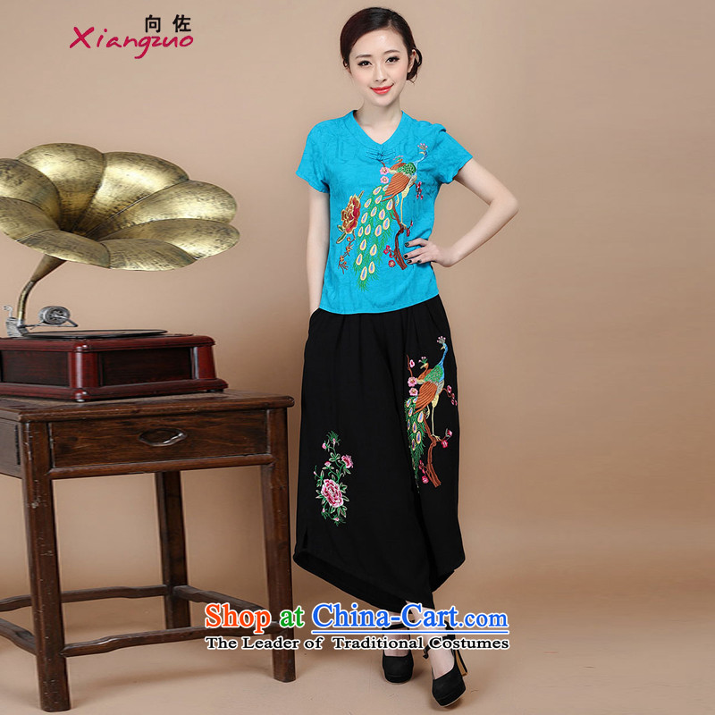 Mr Ronald decorated in 2015 Cotton embroidery Tang dynasty V-Neck short-sleeved T-shirt, two sets of load pants can sell blue�XXXL Kit