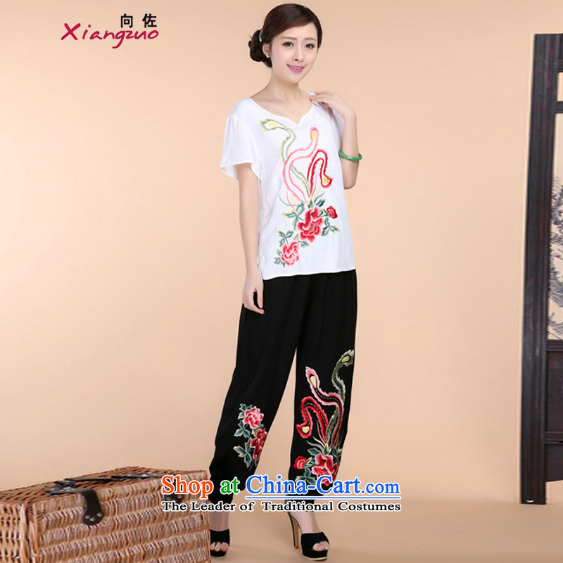 2015 Summer retro Sau San Tong load embroidery Short Sleeve V-Neck short-sleeved T-shirt relaxd casual pants two-piece set with white燲L15 Kit