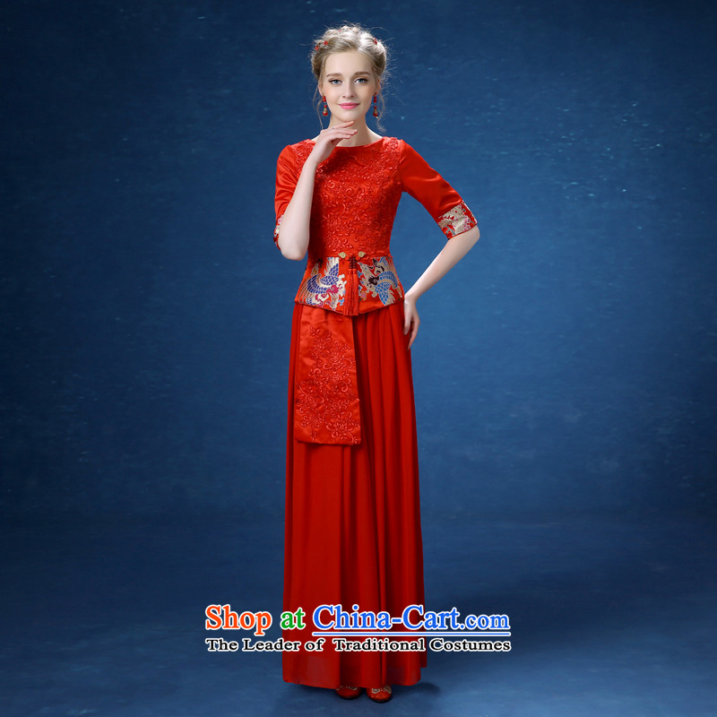 Connie Soo-wo service every Chinese Dress improved services cheongsam dress bride bows Sau San retro marriage qipao large red autumn and winter cheongsam red聽S
