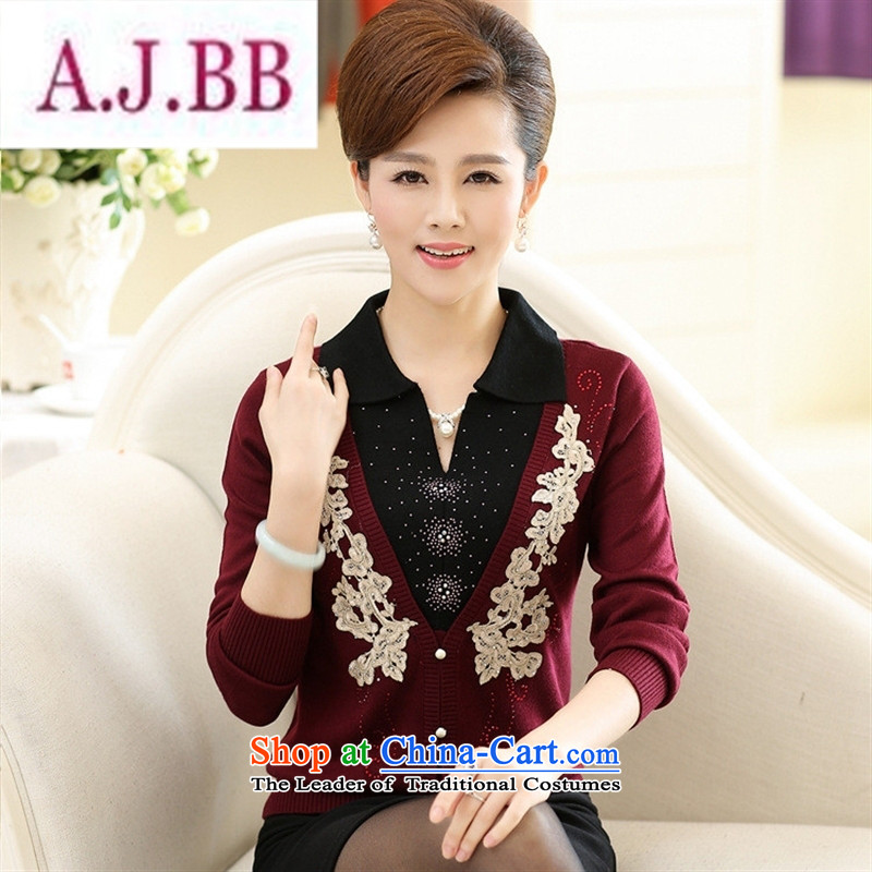 Ya-ting stylish shops fall in new elderly women with stylish mother load autumn knitwear lapel of long-sleeved T-shirt, forming the wine red聽120