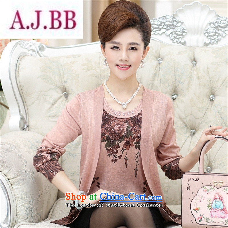 Ya-ting and fashion boutiques autumn 2015 new_ Older women Knitted Shirt middle-aged moms loose leave two stamp won increase female pink version聽120