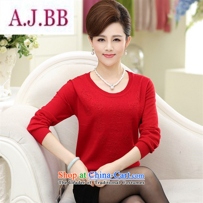 Ya-ting and fashion boutiques in 2015 new elderly women with large middle-aged autumn mother long-sleeved T-shirt Sweater Knit-Female Red�0