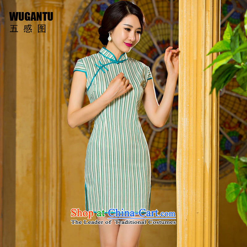 The five senses the new figure green stripes retro arts short qipao China wind ethnic Sau San video thin dresses picture color XXL