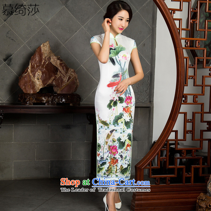 The cross-sa Lei Lin?2015 retro long improvement in the autumn of qipao long skirt the new trendy style qipao and day-to-day long qipao?T 10016 that are logged in the?White?2XL