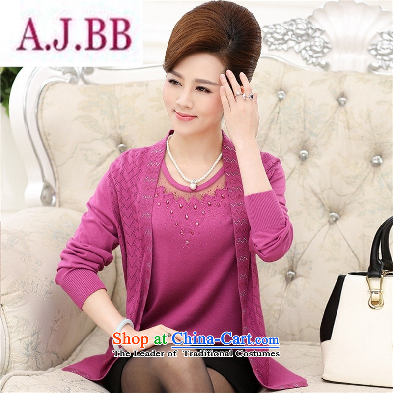 Ya-ting and fashion boutiques in older women wear long-sleeved new boxed autumn really two large middle-aged mother blouses two kits knitting cardigan Violet 115