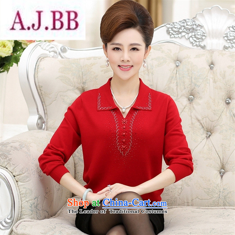 Ya-ting stylish shops fall in New Older Women's stylish middle-aged moms replacing reverse collar ironing long-sleeved shirt, forming the drill knitting�XXXL green