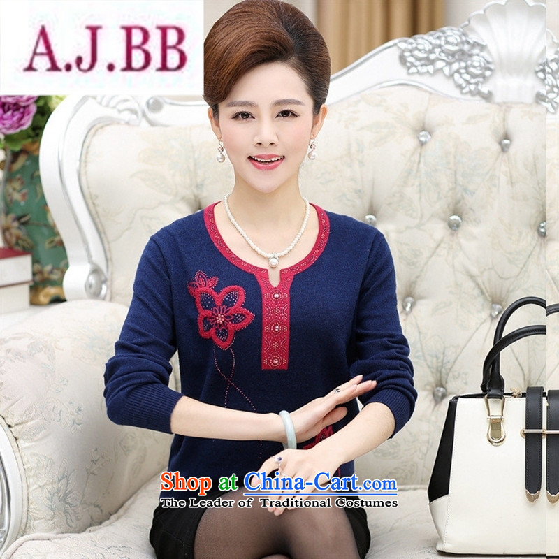 Ya-ting and fashion boutiques in autumn replacing mother with older long-sleeved sweater middle-aged women knitted sweaters forming the shirt 40-50 shirt female Green�115