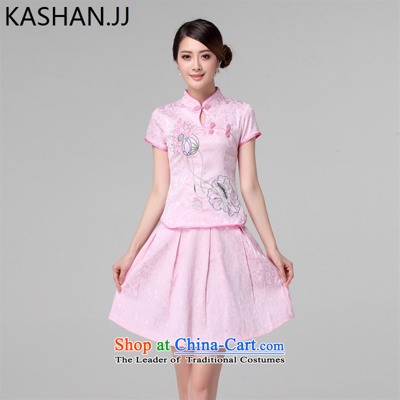 Susan Sarandon bandying stylish summer card improved cheongsam dress up and down the image of the lotus preppy kit qipao split cheongsam pink燬