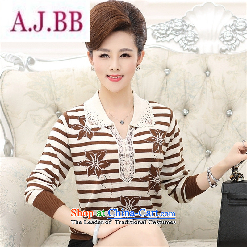 Ya-ting and fashion boutiques in older women with large stylish autumn long-sleeved sweater, forming the basis for middle-aged female lapel mother replacing streaks knitwear purple聽110