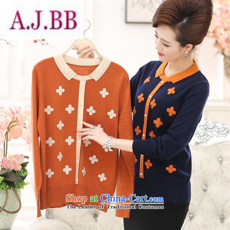 Ya-ting and fashion boutiques autumn and winter, in the new Elderly Women New autumn large boxed loose mother Dressed Dolls, forming the basis for a sweater fleece Orange�110