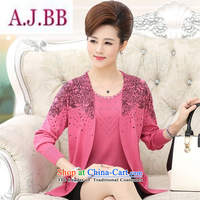 Ya-ting stylish shops in the autumn of 2015, the new mother with long-sleeved true older two kits knitting cardigan jacket female large yellow shirt聽120