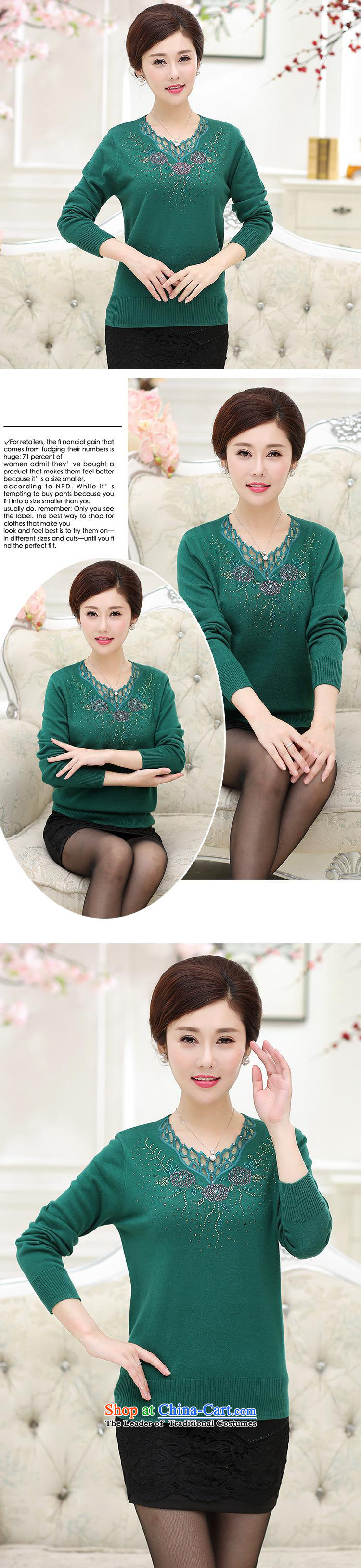 Ya-ting stylish shops in the autumn of 2015, the new elderly long-sleeved T-shirt Knitted Shirt ironing drill sweater mother stamp blouses female emerald110 pictures, prices, brand platters! The elections are supplied in the national character of distribution, so action, buy now enjoy more preferential! As soon as possible.