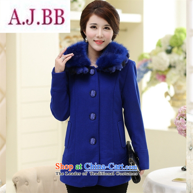 Ya-ting and fashion boutiques in older women woolen coats middle-aged moms load? winter clothing in a thick long coats cloak gross for blue�XL